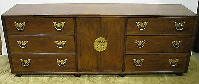 Vintage Henredon Asian-Inspired Mahogany Long Dresser; Exceptional Condition