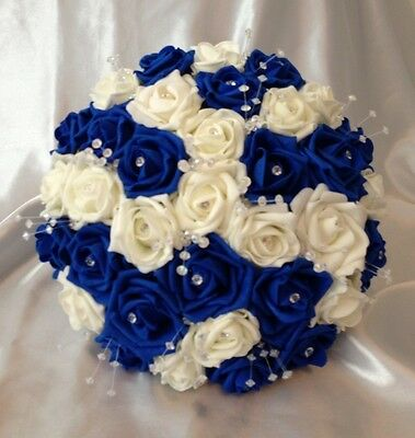 Wedding Bouquet Artificial Flowers Royal Blue Ivory Foam Rose Bride Crystal