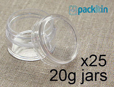 25 x 20g CLEAR LIP BALM JARS containers pots - brand new plastic screw top lid