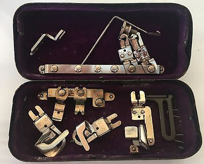 Vintage 'White' Sewing Machine Attachments in Tin Box
