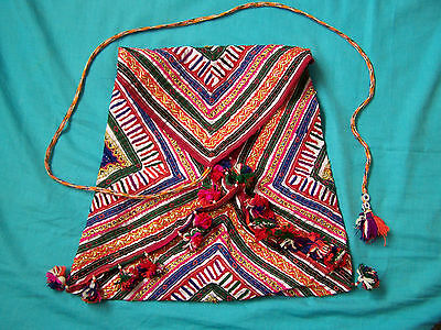 Original Vintage Gujarat/Rajasthan Large embroidered/applique/tassled dowry bag