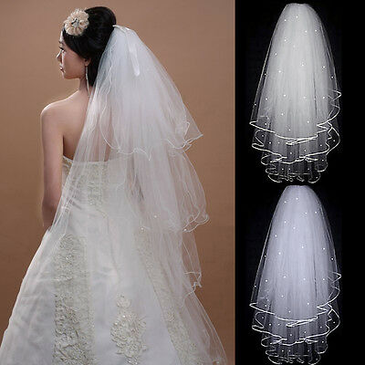 White or Ivory Wedding Bridal Veil Elbow Length Satin Edge With Comb