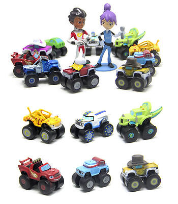 12pcs Blaze And The Monster Machine Action Figures Cars Kids Cake Set Topper Toy