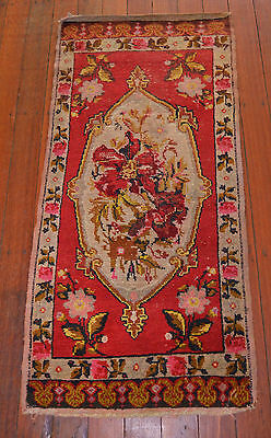 GENUINE SAVONNERIE DESIGN TURKISH VILLAGE KNOTTED PILE RUG Circa 1940