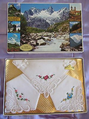 Vintage Ladies Swiss Cotton Embroidered Handkerchiefs. Original Picture Box.