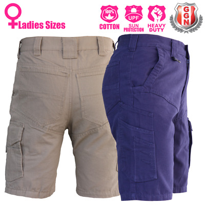 Ladies Cargo Work Shorts, Cotton Drill Work Wear 13 pockets Modern Fitting