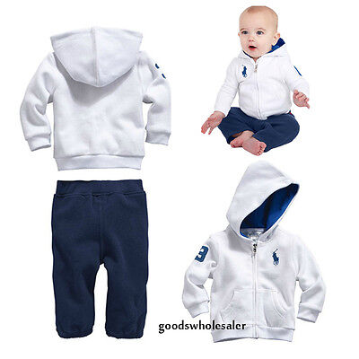 POLO 2PC Kids Toddler Baby Boys Sportswear Coat Sets Hoody+Pants Outfits Clothes