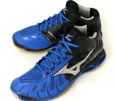 Mizuno Japan Men's WAVE TORNADO X MID Volleyball Shoes Blue 2017 New V1GA1617
