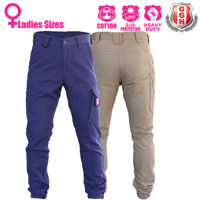 Ladies Cargo Pants Trousers Elastic Cuff Cotton Work Wear Tapered Look UPF 50+