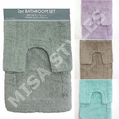 100% Cotton Pile 2 Piece Soft Bath Mat & Pedestal Bathroom Toilet Mat Set