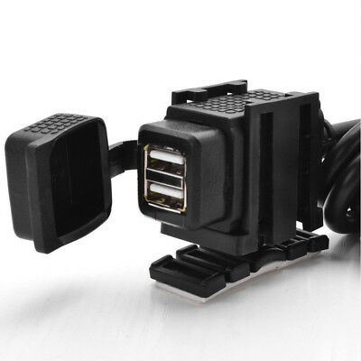Waterproof Motorcycle 2USB Mobile Phone Power Supply Port Socket GPS Charger 12V