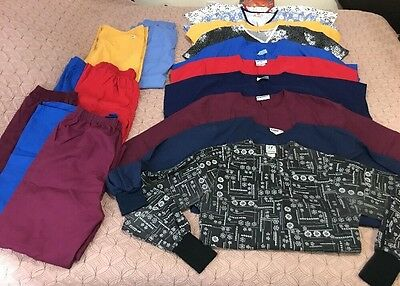 Huge Lot Of 17 Scrub Pants, Shirts, Jackets All SZ S M L Great Used Condition