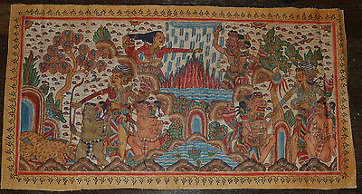Old Traditional Kamasan Balinese Religious Painting On Cloth