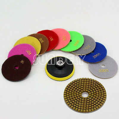 11x Diamond Polishing Pads 4 inch Kit For Granite Concrete Marble Polish Wet Dry