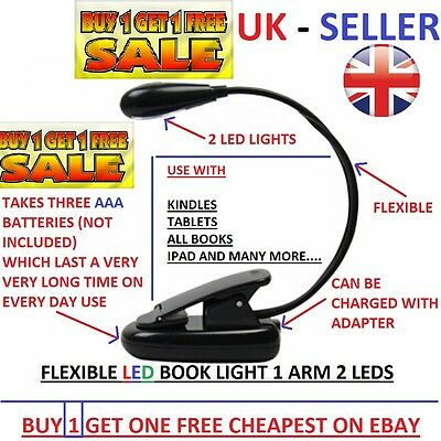 2 FOR 1 LED light Clip-on 2 Leds Reading Light Lamp for Books kindles Tablet