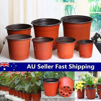 100pcs Plastic Garden Nursery Pots Flowerpot Seedlings Planter Containers Set AU