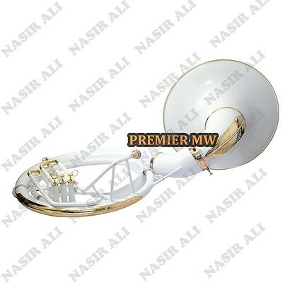"""Sousaphone Big Bell 25"""" B-Flat White Color For Sale With Free Carry Bag + Mp"""
