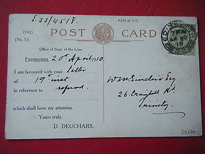NORTH BRITISH Rly OFFICIAL w/CORRESPONDENCE BACK (NB455) - SCARCE POSTCARD!