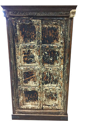 ANTIQUE Spanish Style CABINET 18c TEAK DOOR VINTAGE ARMOIRE BEDROOM FURNITURE