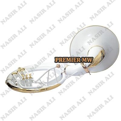 """SUMMER SALE SOUSAPHONE Bb PITCH WHITE LACQUER 25"""" BELL WITH FREE CARRY BAG + MP"""