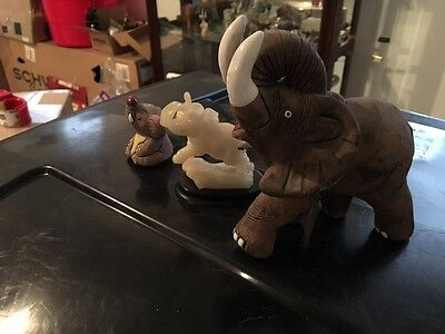 Lot of 3 Elephant figurines trunk up