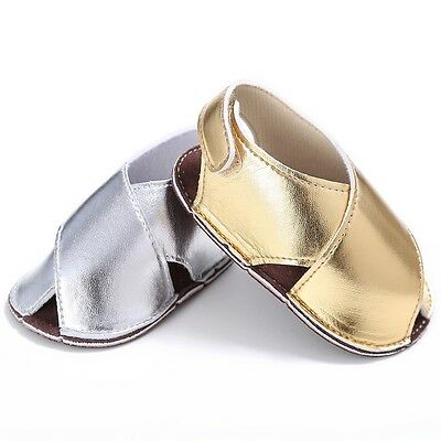 Toddler Baby Girls Summer Sandals Shoes PU Leather Gold Silver Color Prewalkers