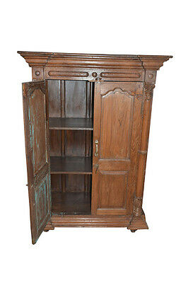 Antique Indian Cabinet Rustic Reclaimed Wood Armoire Wardrobe Storage