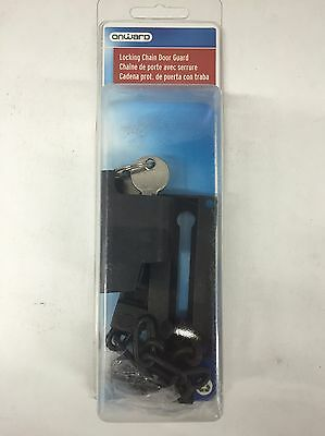 Locking Chain Door Guard Latch Security With Key by Onward Black (NEW)