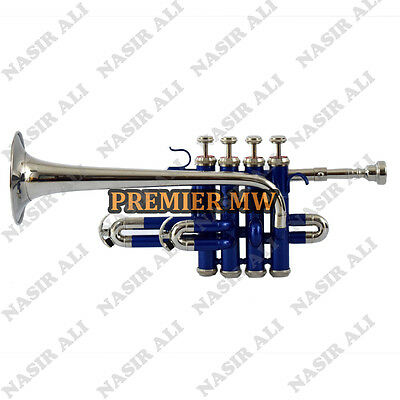 PICCOLO TRUMPET B-FLAT BLUE Lacquer + NICKEL W/ FREE HARD CASE AND MOUTH PIECE