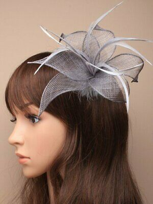 Silver grey fascinator with hessian petals and feather tendrils (beak clip an...