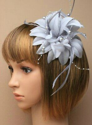Ladies silver grey flower fascinator with beads