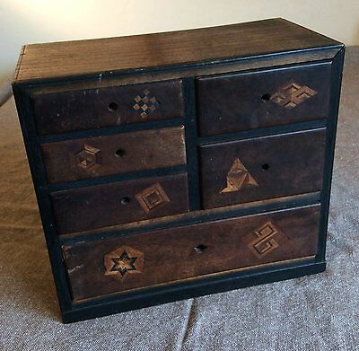 19th century miniature Japanese chest of drawers with marquetry.
