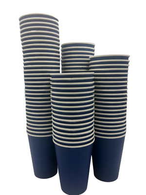 8oz/12oz Disposable Coffee Paper Cups BLUE Single Wall Cold/Hot Drinks &SIP LIDS