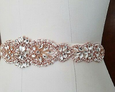 "Wedding Bridal Sash Belt - ROSE GOLD CRYSTAL PEARL Wedding SASH BELT= 15"" long"
