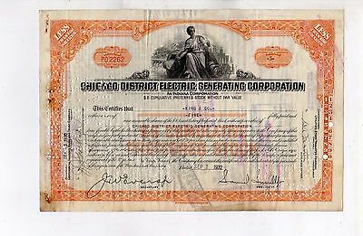Original Stock Certificate 5 shares Chicago Distric Electric Generating Corp