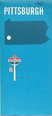 1967 AMERICAN OIL COMPANY Road Map PITTSBURGH Pennsylvania Beltway System
