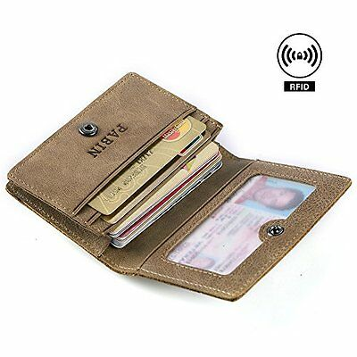 RFID Blocking Credit Card Holder Leather ID Case for Men Pabin Vintage Khaki