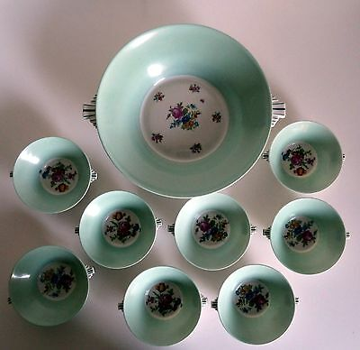 Very Fine French Antique Porcelain Berry Service by Chapus of Limoges 1930's