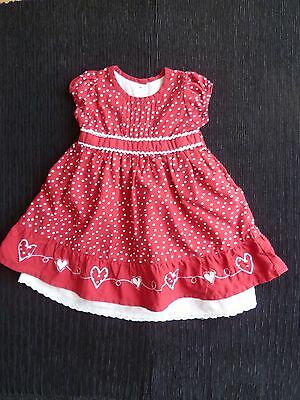 Baby clothes GIRL 3-6m Matalan dark red spot white underskirt cotton dress SS
