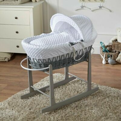 White Dimple Grey Wicker Moses Basket And Grey Rocking Stand