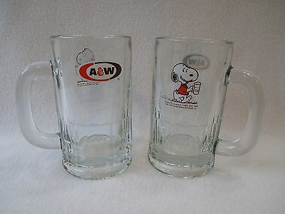 2 Vintage 1971 A & W Root Beer Glass Stein Peanuts Snoopy
