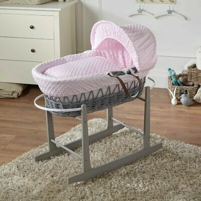 Pink Dimple Grey Wicker Moses Basket And Grey Rocking Stand