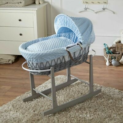 Blue Dimple Grey Wicker Moses Basket And Grey Rocking Stand