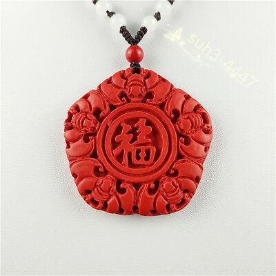 Chinese Natural Red Organic Cinnabar Bat Pendant Necklace Lucky Charm Amulet Hot