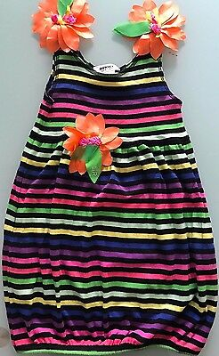 71dfe1bb2c2 Adorable SONIA RYKIEL ENFANT Girls Striped Bubble Dress with Flowers 6 ans