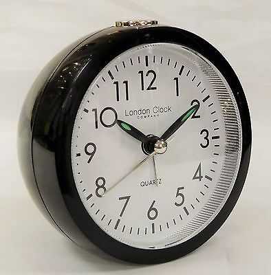 London Clock Company Black Round Battery Operated Quartz Alarm Clock 04137