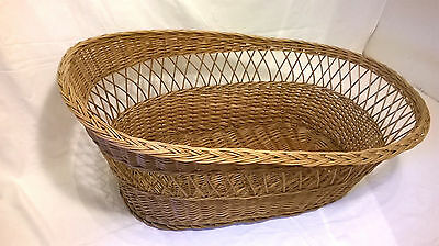 Vintage Baby Wicker Cradle Crib Cot Moses Basket Nursery Infant Doll Extra Large