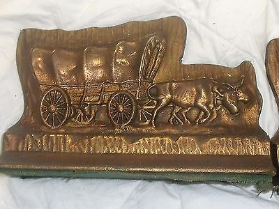 VINTAGE Western Bookends Heavy Bronze 13 pounds  Bulls Pulling Wagon
