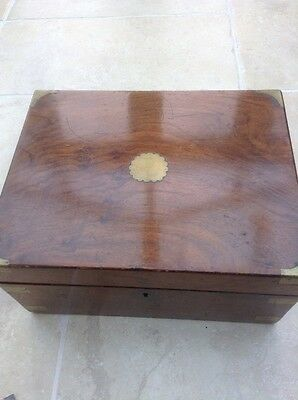 Antique Victorian? Mahogany inlaid with brass Portable Writing Desk / Slope