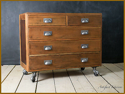 Salvaged Chest of Drawers Bank Reclaimed Industrial Vintage Loft Solid Wood Oak